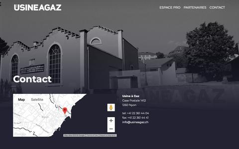 Screenshot of Contact Page usineagaz.ch - Contact : Usine à Gaz - captured Nov. 21, 2018