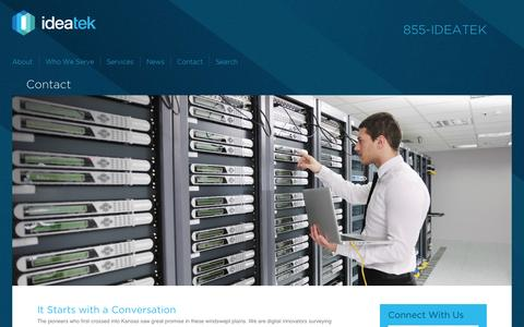 Screenshot of Contact Page ideatek.com - Kansas Fiber-Optic Solutions Contact | IdeaTek - captured Oct. 27, 2014