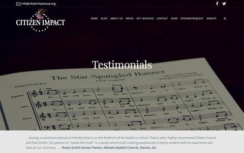 Screenshot of Testimonials Page citizenimpactusa.org - Testimonials – Citizen Impact - captured Nov. 4, 2018