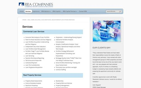 Screenshot of Services Page rracompanies.com - RRA | Risk Analysis, Loan Servicing, Receivership and other Services - captured Oct. 26, 2014