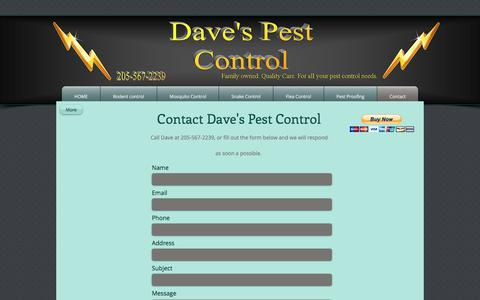 Screenshot of Contact Page davesbugs.com - Contact Daves Pest Control - captured Oct. 12, 2017