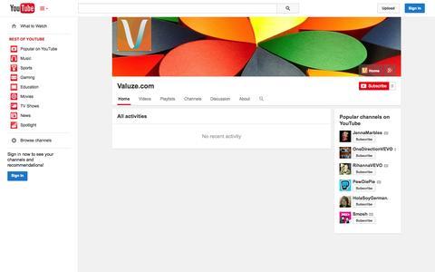 Screenshot of YouTube Page youtube.com - Valuze.com  - YouTube - captured Oct. 27, 2014