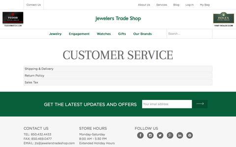 Screenshot of Support Page jewelerstradeshop.com - Customer Service - Jewelers Trade Shop - Pensacola, Fl - captured Jan. 9, 2016