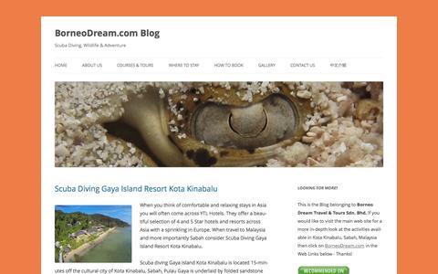 Screenshot of Blog borneodream.com - BorneoDream.com Blog - Scuba Diving, Wildlife & Adventure - captured Oct. 5, 2014