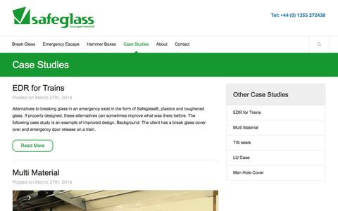Screenshot of Case Studies Page safeglass.co.uk - Case Studies | Safeglass - captured Oct. 1, 2014