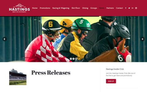 Screenshot of Press Page hastingsracecourse.com - News, Results, and Replays | Hastings Racecourse - captured July 16, 2018