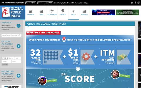 Screenshot of About Page globalpokerindex.com - ABOUT THE GLOBAL POKER INDEX | The Official Global Poker Index – GPI Rankings - captured June 29, 2017