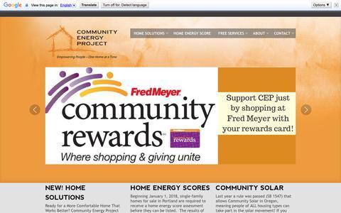 Screenshot of Home Page communityenergyproject.org - Home - Community Energy Project - captured Sept. 29, 2018