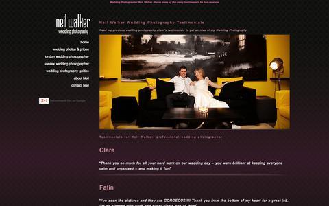Screenshot of Testimonials Page neilwalkerphotography.co.uk - Neil Walker Wedding Photography Testimonials - captured Oct. 1, 2014