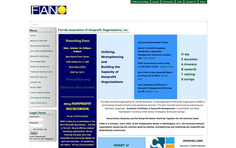 Screenshot of Menu Page fano.org - FANO - Home - captured Oct. 6, 2014