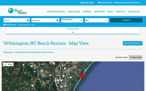 Screenshot of Maps & Directions Page bryantre.com - Wilmington, NC Beach Rentals - Map View | Bryant Real Estate - captured Jan. 29, 2018