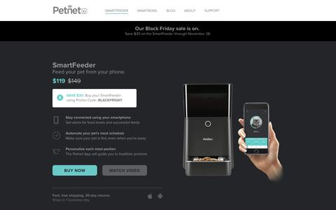 Screenshot of Home Page petnet.io - Petnet SmartFeeder for cats and dogs - captured Nov. 26, 2016