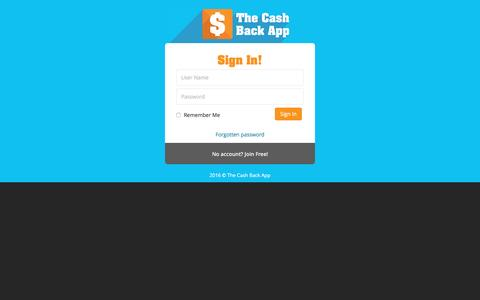 Screenshot of Login Page thecashbackapp.com - Sign In - The Cash Back App: Everybody Wins! Get Cash Back and Loyalty Rewards on your Shopping, Plus build a passive income!   Get the FREE Cash Back App - captured Dec. 13, 2016