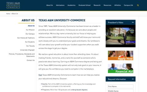 Screenshot of About Page tamuc.edu - About Us - Texas A&M University-Commerce - captured Feb. 14, 2016