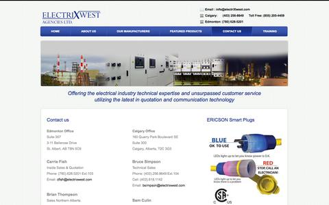Screenshot of Contact Page electrixwest.com - Contact Us – ElectrixWest Agencies LTD - captured Oct. 2, 2014