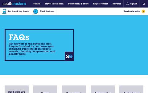 Screenshot of FAQ Page southeasternrailway.co.uk - FAQs | Southeastern - captured June 15, 2017