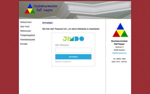 Screenshot of Login Page ralf-kasper.com - Anmelden - Stuckateurmeister Ralf Kasper - captured June 8, 2016
