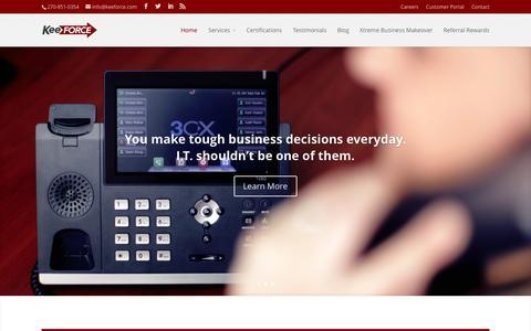 Screenshot of Home Page keeforce.com - Keeforce - IT Management - captured June 16, 2015