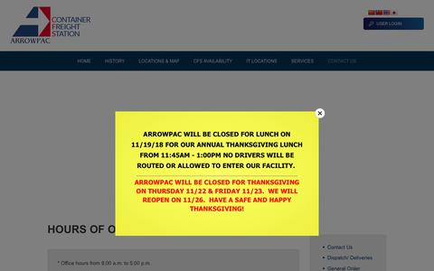 Screenshot of Hours Page arrowpaccfs.com - Hours of Operation – ArrowpacCFS - captured Nov. 6, 2018