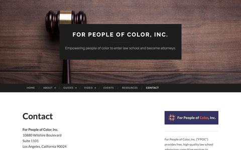 Screenshot of Contact Page forpeopleofcolor.org - Contact | For People of Color, Inc. - captured Oct. 10, 2018