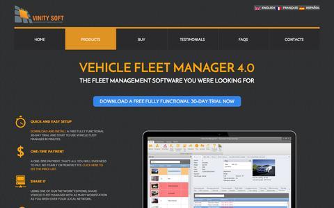 Screenshot of Products Page vinitysoft.com - Fleet Management Software - - captured Nov. 5, 2014