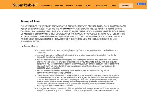 Screenshot of Terms Page submittable.com - Terms- Submission Manager powered by Submittable: accept and manage content, applications, contest entries and resumes - captured July 4, 2016