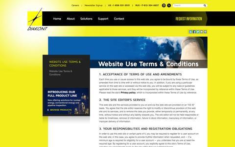Screenshot of Terms Page diakont.com - Cameras for Nuclear Power Plants, Radiation Tolerant Equipment | Diakont - captured Sept. 30, 2014