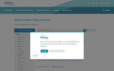 Screenshot of Jobs Page xylem.com - Xylem Career Opportunities | Xylem US - captured Sept. 29, 2018
