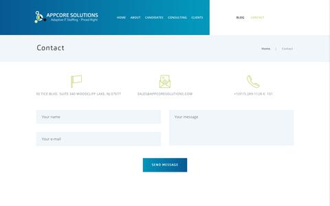Screenshot of Contact Page appcoresolutions.com - Contact – AppCore Solutions | Adaptive IT staffing – Priced Right - captured Oct. 8, 2017