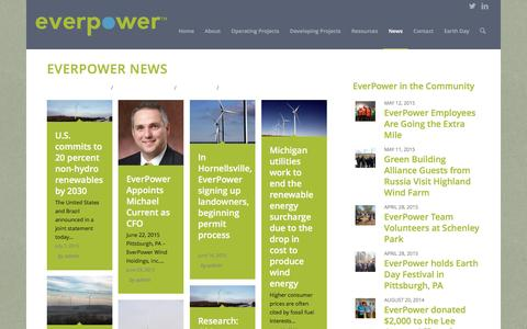Screenshot of Press Page everpower.com - EverPower Wind Holdings |   News - captured Jan. 31, 2016