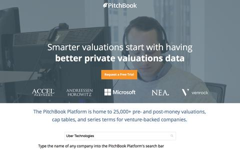 Screenshot of Landing Page pitchbook.com - Private Company Data - PitchBook - captured Sept. 27, 2016