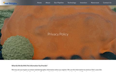 Screenshot of Privacy Page heatbio.com - Privacy Policy | Heat Biologics - captured Sept. 28, 2018