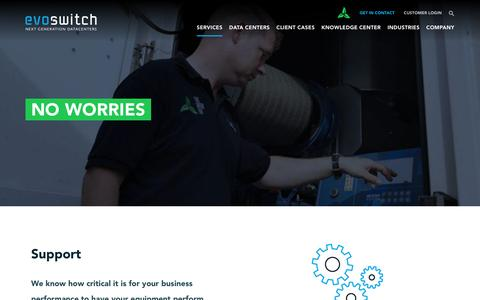 Screenshot of Support Page evoswitch.com - EvoSwitch provides 24/7 data center support services - captured May 22, 2017