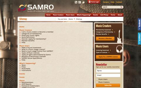 Screenshot of Site Map Page samro.org.za - Sitemap | SAMRO - captured Sept. 30, 2014