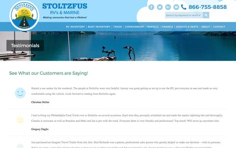 Screenshot of Testimonials Page stoltzfus-rec.com - Testimonials - Stoltzfus RV - captured Oct. 25, 2017
