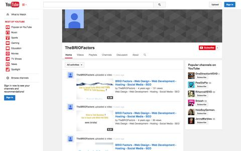 Screenshot of YouTube Page youtube.com - TheBRIOFactors  - YouTube - captured Oct. 23, 2014