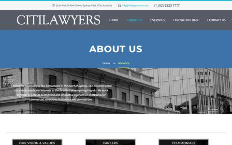 Screenshot of About Page citilawyers.com.au - About Us - Citilawyers | citilawyers.com.au - captured July 18, 2018