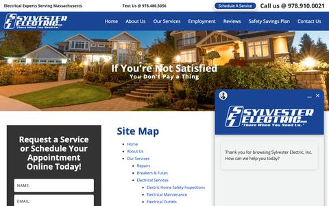 Screenshot of Site Map Page sylvesterelectric.com - Site Map | Tewksbury Electrical Repair - captured Oct. 18, 2018