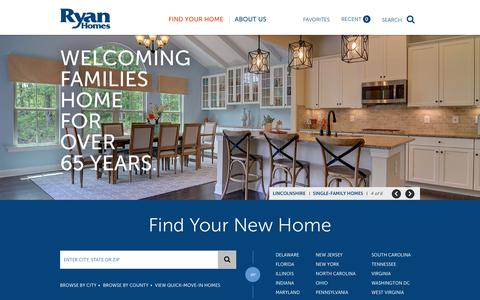 Screenshot of Home Page ryanhomes.com - Buy New Construction Homes for Sale - Ryan Homes - captured Sept. 12, 2018