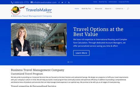 Screenshot of Home Page travelsmaker.com - Travelsmaker   Business travel management company - captured Oct. 7, 2014