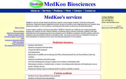 Screenshot of Services Page medkoo.com - MedKoo--research services - captured Oct. 27, 2014