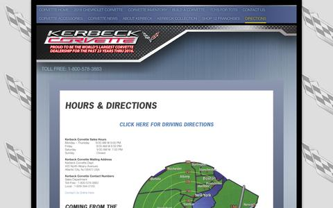 Screenshot of Maps & Directions Page kerbeck.com - Directions to Kerbeck Corvette - 2010 Corvette Information, Corvettes for sale by Kerbeck- Buy Your New 2010 Corvette at Kerbeck Worlds Largest Corvette Dealer - captured June 27, 2017
