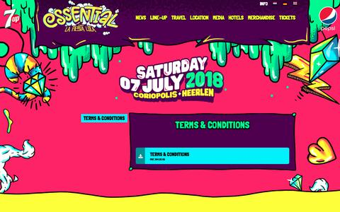 Screenshot of Terms Page essentialfestival.nl - Terms & Conditions - captured Sept. 29, 2018