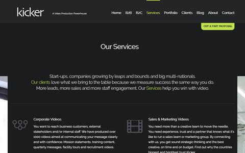 Screenshot of Services Page kickervideo.com - Our Services | Kicker Video - B2B Video Experts Nationwide - captured Oct. 15, 2018
