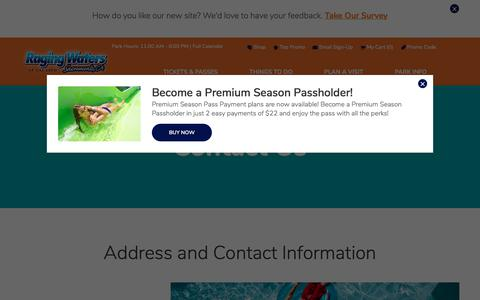 Screenshot of Contact Page rwsac.com - Contact Us   Raging Waters Sacramento - captured July 3, 2018