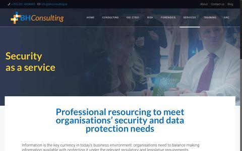 Screenshot of Services Page bhconsulting.ie - Security as a service - BH Consulting - captured May 31, 2017