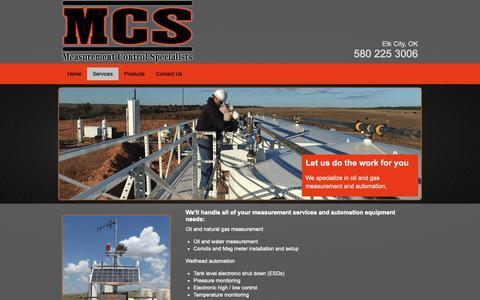 Screenshot of Services Page mcsok.com - Gas measurement | Elk City, OK - Measurement Control Specialists - captured Nov. 15, 2018