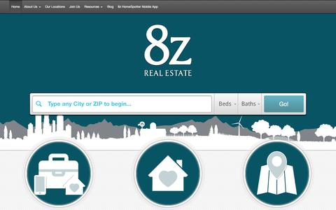 Screenshot of Home Page 8z.com - 8z Real Estate :: Realtors in Colorado and the San Francisco Peninsula - captured Jan. 25, 2015