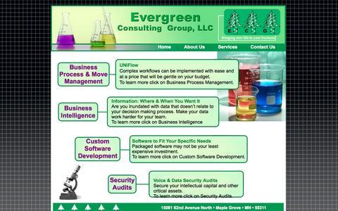 Screenshot of Services Page evergreencg.com - Evergreen Services - captured Oct. 3, 2014