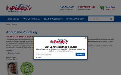 Screenshot of About Page thepondguy.com - Pond, Lake, & Water Garden Supplies, Pond Algae Control, Pond Dye, Pond Aeration, Pond Liners - captured Feb. 19, 2016